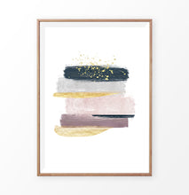 Load image into Gallery viewer, Brush Strokes Abstract Painting with Gold, Pink, Navy Blue and Gray