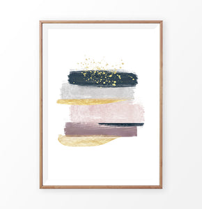 Brush Strokes Abstract Painting with Gold, Pink, Navy Blue and Gray