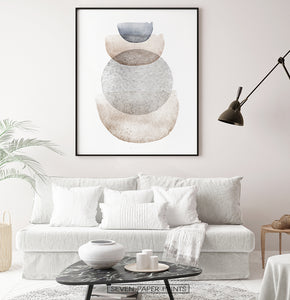 Living space abstract wall decor in natural colors