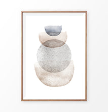 Load image into Gallery viewer, Brown Watercolor Abstract Art with Blue and Gray