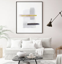 Load image into Gallery viewer, Gray and Black Abstract Painting with Gold Stroke