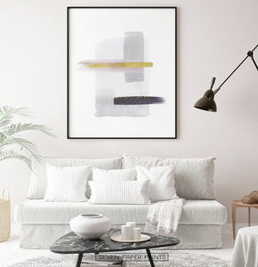 Gray and Black Abstract Painting with Gold Stroke