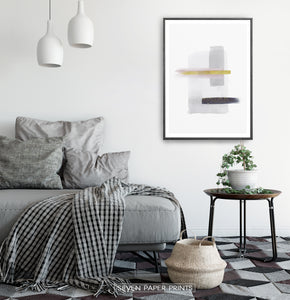 Scandinavian Abstract Print with Gold for Living Room