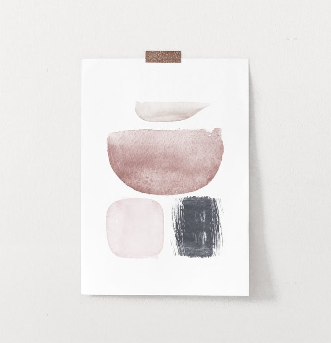 Frameless Watercolor Abstract Earth Colors Art Poster on wall