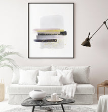 Load image into Gallery viewer, A framed poster with gray, yellow, and black horizontal smears on white background - in the living room