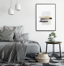 Load image into Gallery viewer, A framed poster with gray, yellow, and black horizontal smears on white background - in the bedroom