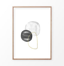 Load image into Gallery viewer, A brown-framed wall art with black, silver and golden forms