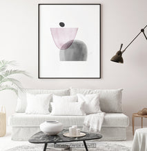Load image into Gallery viewer, Black-Framed Pink and Gray Abstract Wall Art