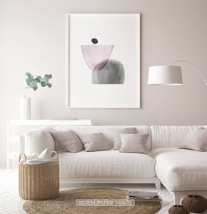 White-Framed Pink and Gray Abstract Wall Art