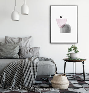 Black-Framed Pink and Gray Abstract Wall Art