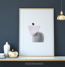 Load image into Gallery viewer, Golden-Framed Pink and Gray Abstract Wall Art
