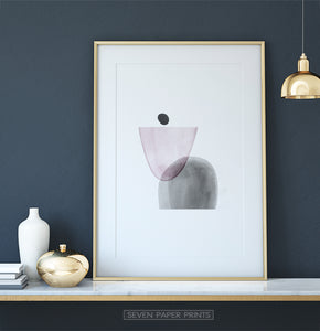 Golden-Framed Pink and Gray Abstract Wall Art