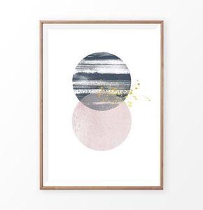 Wooden-framed Navy and pink Jupiter-like abstract wall art