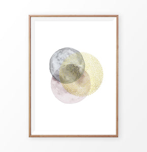 Gold, Gray, and Pink Rounds Painting Poster