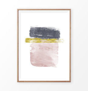 Navy, Gold and Pink Horizontal Sweeping Strokes Poster