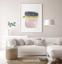 Load image into Gallery viewer, Navy, Gold and Pink Horizontal Sweeping Strokes Poster