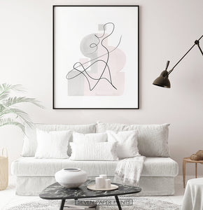 Black-framed One Line Hand Drawn Abstract Wall Art with Pink and Gray Background