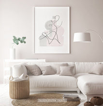 Load image into Gallery viewer, White-framed One Line Hand Drawn Abstract Wall Art with Pink and Gray Background