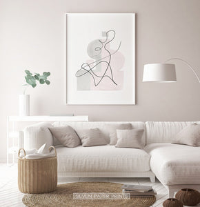 White-framed One Line Hand Drawn Abstract Wall Art with Pink and Gray Background