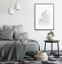 Load image into Gallery viewer, Black-framed One Line Hand Drawn Abstract Wall Art with Pink and Gray Background