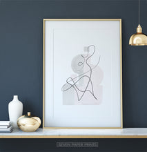 Load image into Gallery viewer, Gold-framed One Line Hand Drawn Abstract Wall Art with Pink and Gray Background