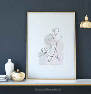 Gold-framed One Line Hand Drawn Abstract Wall Art with Pink and Gray Background