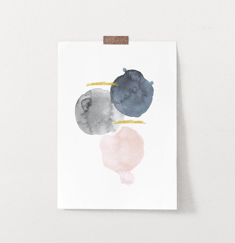 Modern Abstract Stain Art. Gray, Navy Blue, Pink