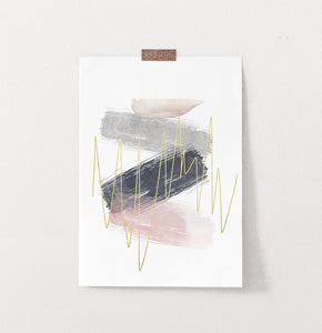 Abstract Brush Print with Gold, Gray, Pink, and Blue Colors
