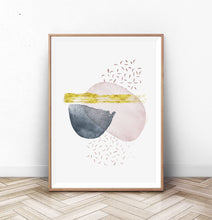 Load image into Gallery viewer, Geometric Abstract Navy Blue and Pink Shapes Art