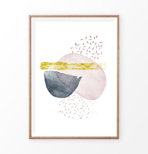 Abstract Stains with Gold. Wall Art Print