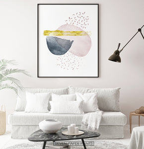Abstract Wall Decor for White Living Room