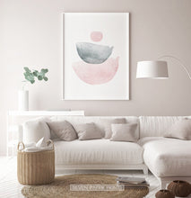 Load image into Gallery viewer, Pink And Gray Semicircle-Like Abstract Wall Art