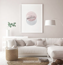 Load image into Gallery viewer, White-framed Abstract Wall Art With Two Circles in Pink And Gray Colors