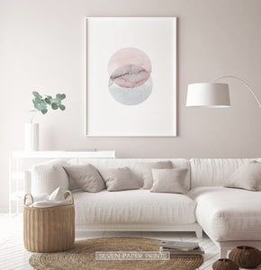 White-framed Abstract Wall Art With Two Circles in Pink And Gray Colors