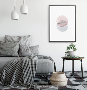 Black-framed Abstract Wall Art With Two Circles in Pink And Gray Colors