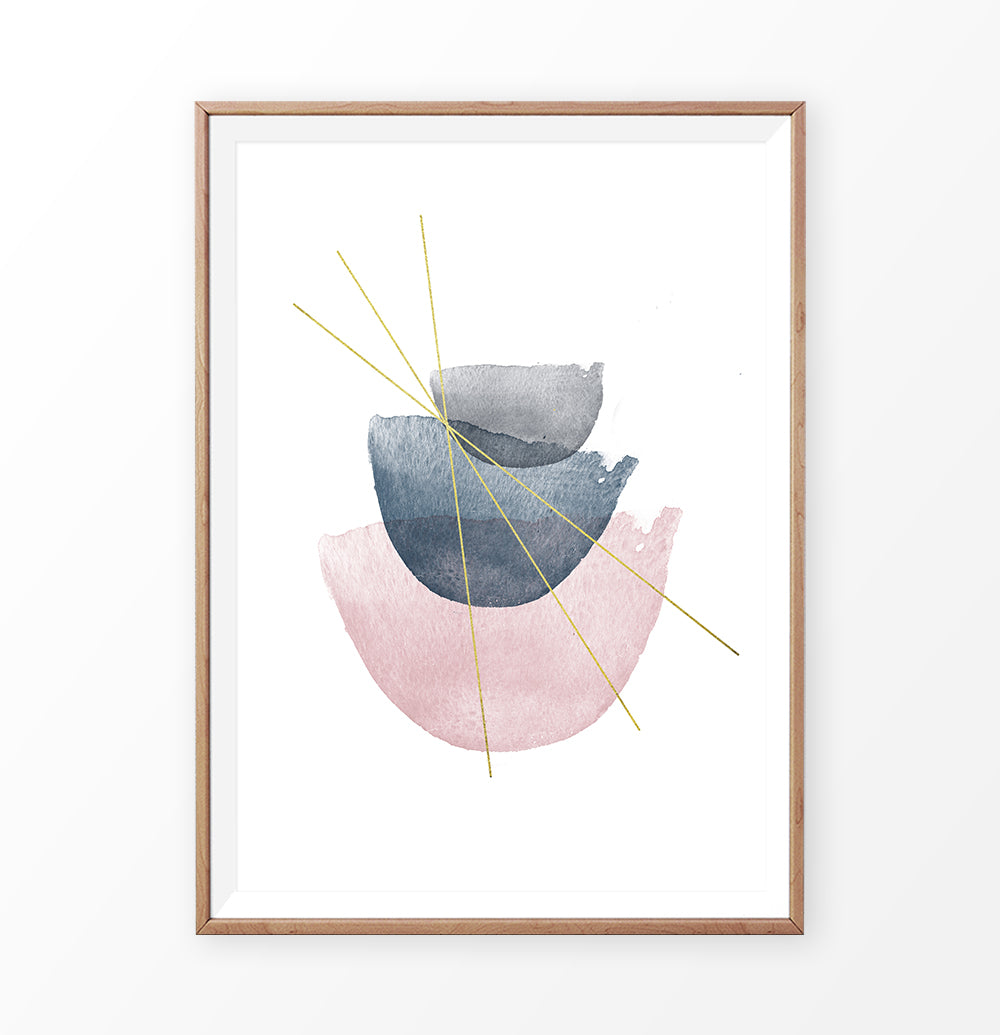 Abstract Watercolor Stones with golden lines
