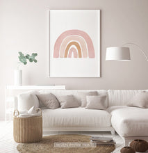 Load image into Gallery viewer, Boho Pink Beige Terracotta Gouache Rainbow Poster
