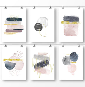 Minimalist wall art, watercolor painting, pink navy abstract, abstract minimalist watercolor prints, set of 6 piece