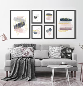 Abstract Art 6 Piece Gallery Wall. Framed or Unframed Prints