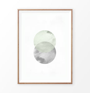 Abstract Moon Circle Nordic Art