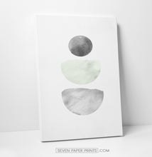 Load image into Gallery viewer, Green and Gray Stones Watercolor Art Prints