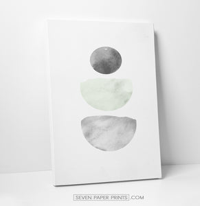 Green and Gray Stones Watercolor Art Prints