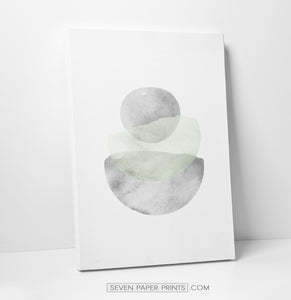 Abstract Green and Gray Stones Watercolor Art Print