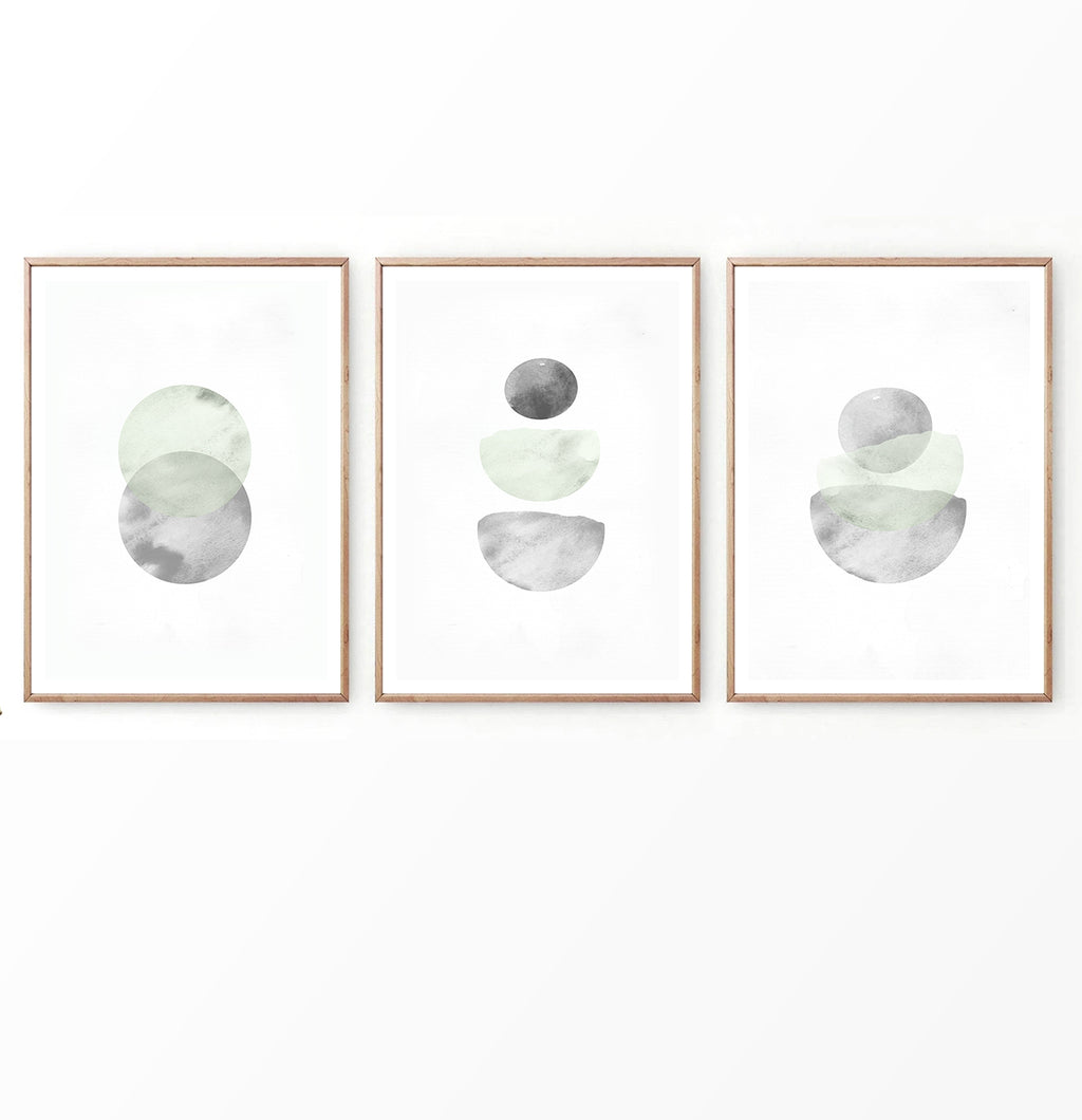 Nordic Geometric Abstract Set of 3 Prints