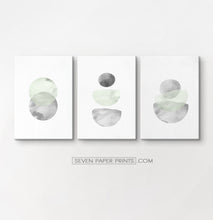 Load image into Gallery viewer, Three Abstract Green and Gray Watercolor Art Prints on rectangular canvases