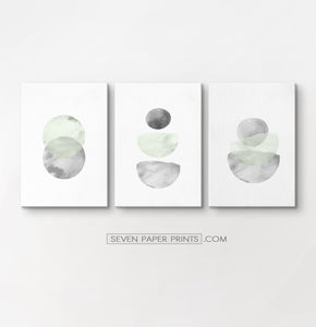 Three Abstract Green and Gray Watercolor Art Prints on rectangular canvases