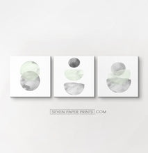 Load image into Gallery viewer, Three Abstract Green and Gray Watercolor Art Prints on square canvases