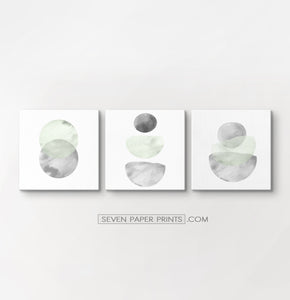 Three Abstract Green and Gray Watercolor Art Prints on square canvases