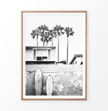 Load image into Gallery viewer, Hawaii Surfing Wall Art Print with surfboard and palms