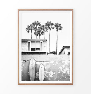Hawaii Surfing Wall Art Print with surfboard and palms